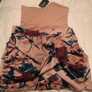 Prettylittlething Nude Satin Floral Mini Skirt